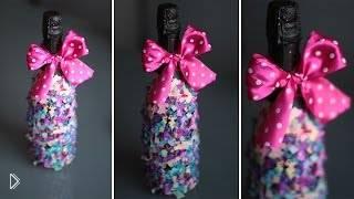 Смотреть онлайн Как можно украсить бутылку шампанского своими руками
