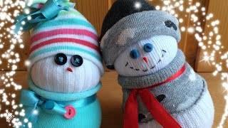 Смотреть онлайн Шьем милейшие снеговики из детских носочков