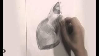 Смотреть онлайн Рисуем сидящую кошку карандашом