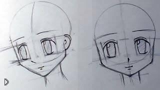 Смотреть онлайн Поэтапное рисование головы карандашом, анимэ