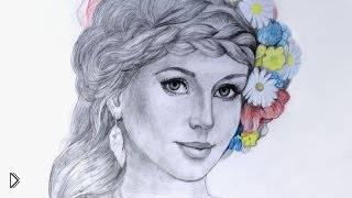 Смотреть онлайн Рисуем портрет девушки простым карандашом