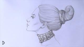 Смотреть онлайн Как нарисовать голову девушки в профиль карандашом