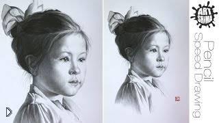 Как нарисовать карандашом портрет девочки - Видео онлайн