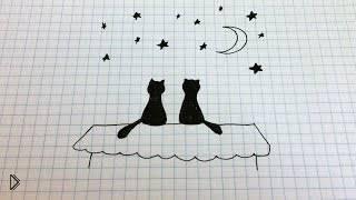 Смотреть онлайн Как рисовать простой рисунок: черные кошечки на крыше
