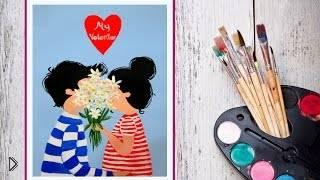 Смотреть онлайн Как нарисовать картинку для любимого гуашью