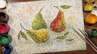 Рисуем груши гуашью в необычной технике Пуантилизм - Видео онлайн