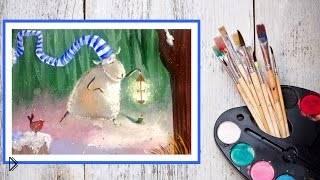 Смотреть онлайн Урок рисования новогодней овечки гуашью