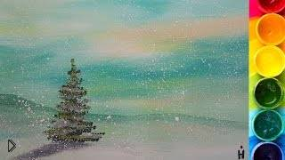 Смотреть онлайн Как нарисовать зимнюю елку гуашью
