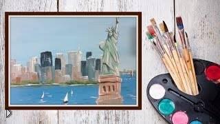 Смотреть онлайн Рисуем гуашью город Нью Йорк