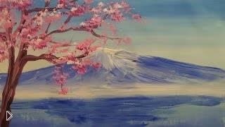 Смотреть онлайн Рисуем гору Фудзияма гуашью урок