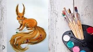 Как разукрасить и нарисовать белку гуашью - Видео онлайн