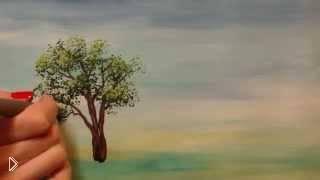 Смотреть онлайн Как нарисовать дерево гуашью поэтапно урок