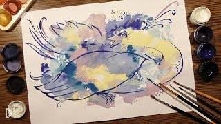 Смотреть онлайн Рисунок птицы гуашью в технике Монотипия