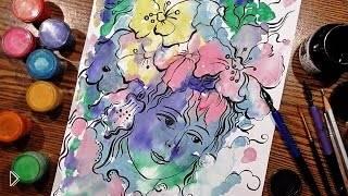 Смотреть онлайн Как рисовать гуашью техникой Монотипия урок