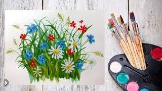 Рисуем гуашью полевые цветочки - Видео онлайн
