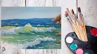 Смотреть онлайн Урок по рисованию: морские волны гуашью