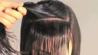 Смотреть онлайн Урок для начинающих парикмахеров: как сделать круглую челку