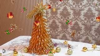 Смотреть онлайн Украшение для дома или офиса: новогодняя елка из макарон