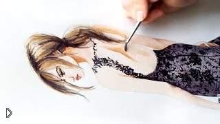 Смотреть онлайн Девушка в черном кружевном платье акварелью