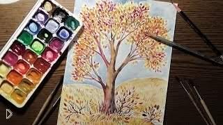 Смотреть онлайн Рисуем акварелью поэтапно: дерево с желтой листвой
