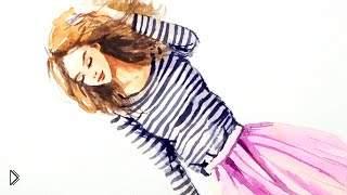 Смотреть онлайн Учимся рисовать девушку акварелью