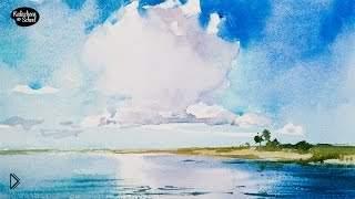 Смотреть онлайн Рисуем морской пейзаж с красивым небом акварелью