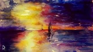 Рисование акварелью: прекрасный морской закат - Видео онлайн