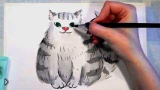 Смотреть онлайн Урок рисования пушистого кота акварелью поэтапно