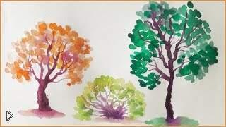 Смотреть онлайн Интересный способ изображения ствола дерева акварелью