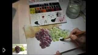 Смотреть онлайн Рисуем виноград акварелью поэтапное обучение