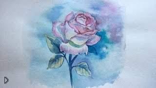 Смотреть онлайн Рисуем акварелью поэтапно нежную розу цветок