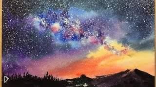 Смотреть онлайн Как нарисовать звездное небо акварелью поэтапно