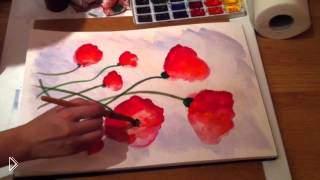 Смотреть онлайн Как нарисовать красные маки акварелью поэтапно