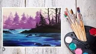Смотреть онлайн Как нарисовать лесной пейзаж акварелью поэтапно