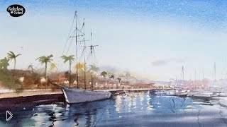 Смотреть онлайн Как нарисовать красивый пейзаж с яхтой акварелью
