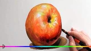 Смотреть онлайн Как нарисовать яблоко объемными мазками акварелью