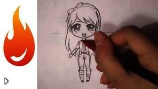 Смотреть онлайн Как нарисовать в стиле чиби девочку карандашом поэтапно