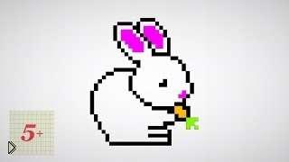 Смотреть онлайн Как нарисовать зайчика в клеточку в тетради
