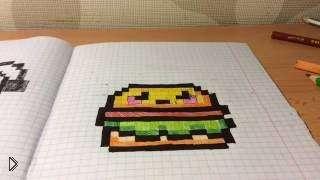 Смотреть онлайн Как рисовать гамбургер в клеточку в тетради