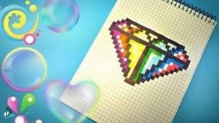 Смотреть онлайн Как нарисовать бриллиант в тетрадке в клеточку