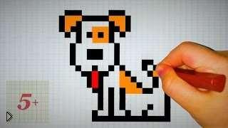 Смотреть онлайн Как нарисовать собаку по клеточкам поэтапно