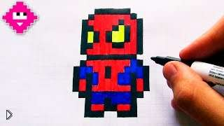 Смотреть онлайн Как нарисовать человека-паука в клетку в тетради