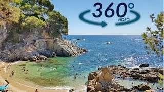 Смотреть онлайн Смотрим на бьющие волны на пляже в 360°