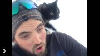 Смотреть онлайн Парень катается на ледянках вместе с котом