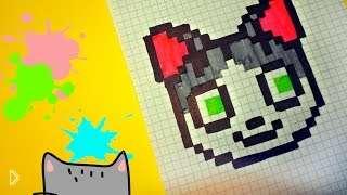 Смотреть онлайн Как поэтапно нарисовать по клеточкам в тетради кошку