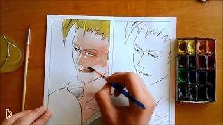 Смотреть онлайн Рисуем аниме картинку красками и карандашами