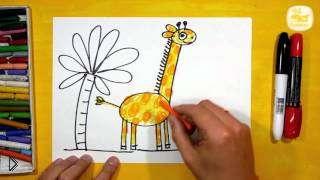 Смотреть онлайн Как поэтапно рисовать жирафа для детей