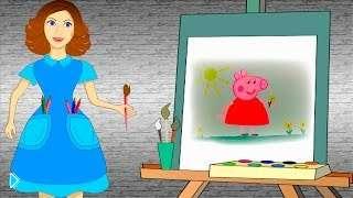 Смотреть онлайн Как ребенку поэтапно нарисовать свинку Пеппу