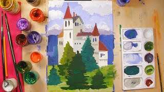 Смотреть онлайн Как поэтапно нарисовать замок для детей 6-8 лет
