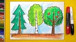 Смотреть онлайн Как поэтапно нарисовать красивое дерево для детей